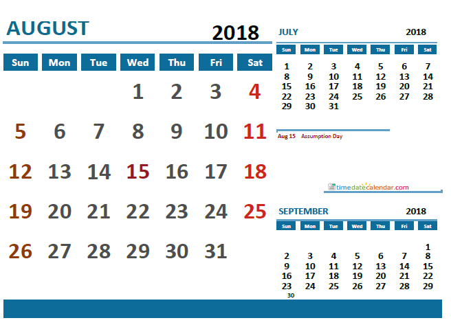 August Calendar 2018 France