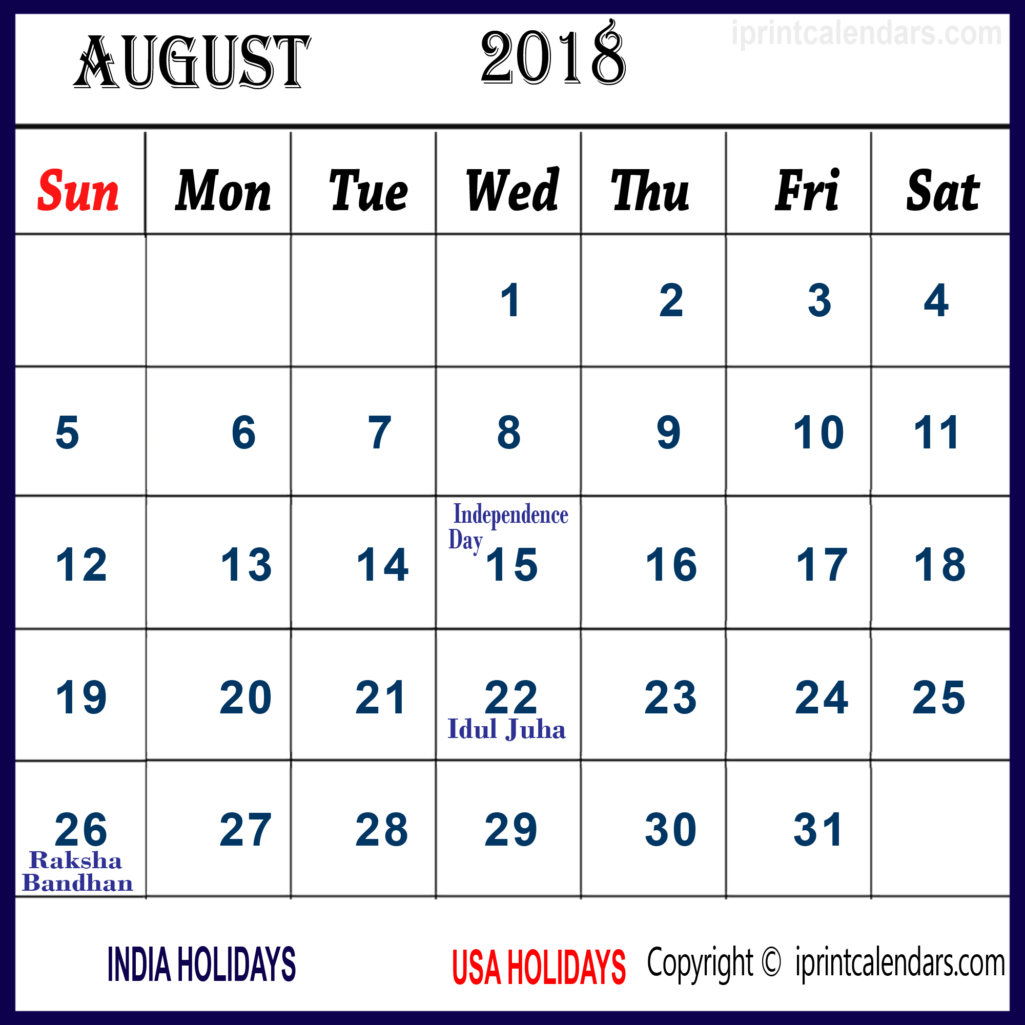 August Calendar 2018 India