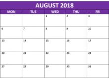 August Calendar 2018 Malaysia