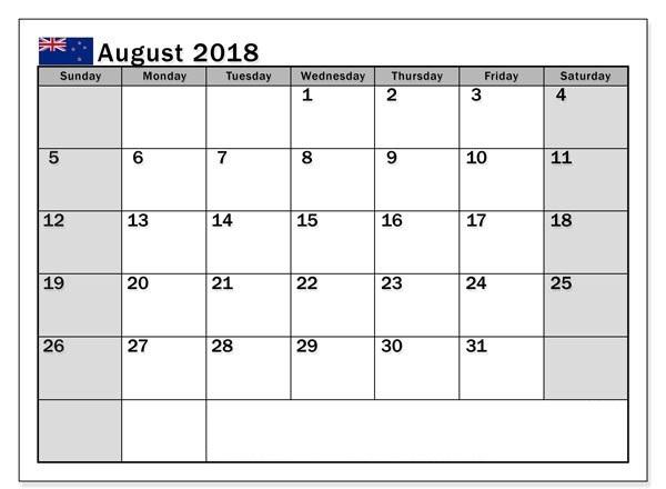 August 2018 Calendar NZ