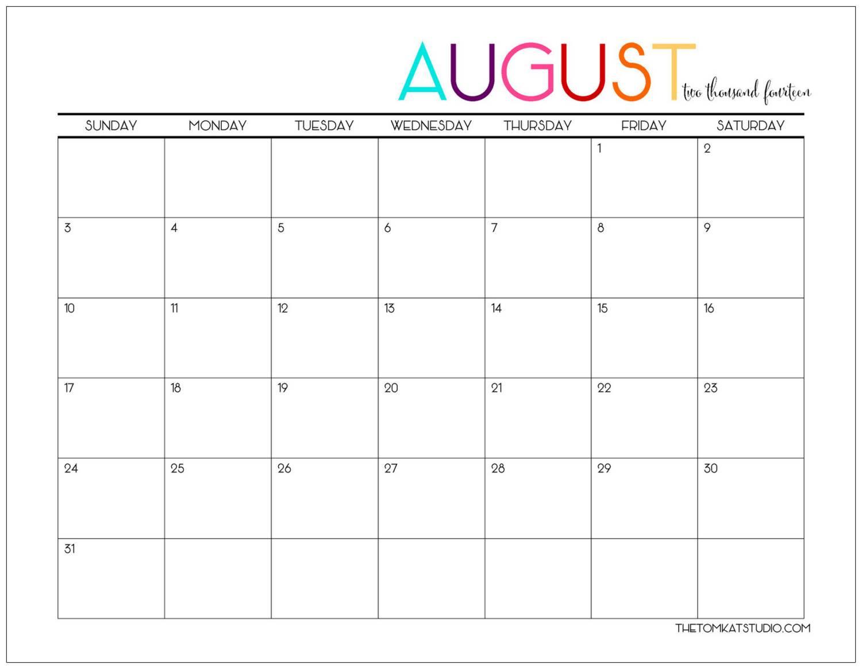 August Calendar 2018 Tumblr