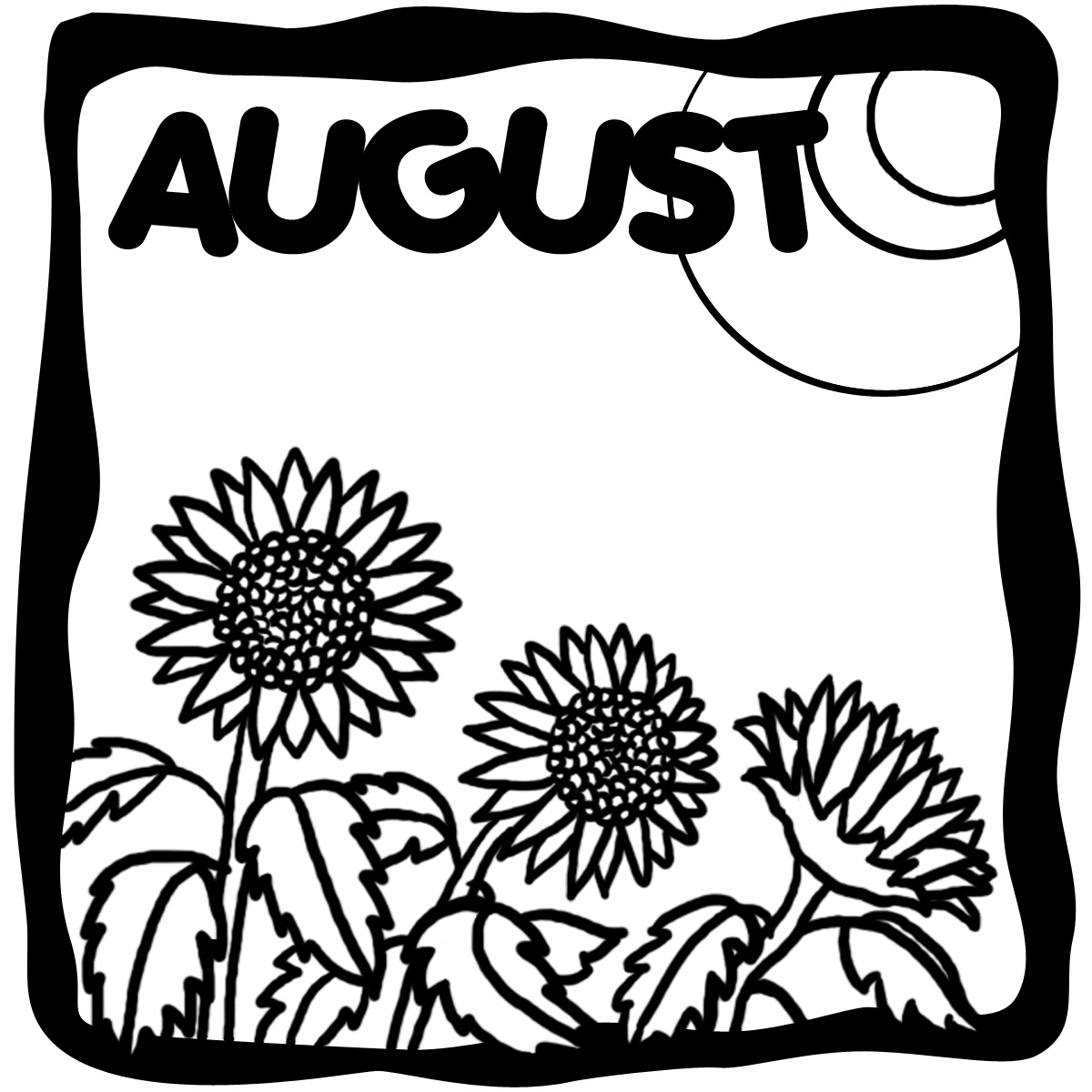 August Clip Art Black And White