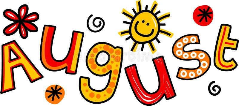 August Clip Art Whimsical Cartoon Text Doodle Month