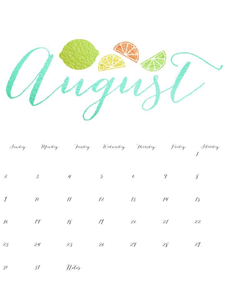 Best August 2018 Cute Calendar Decorative