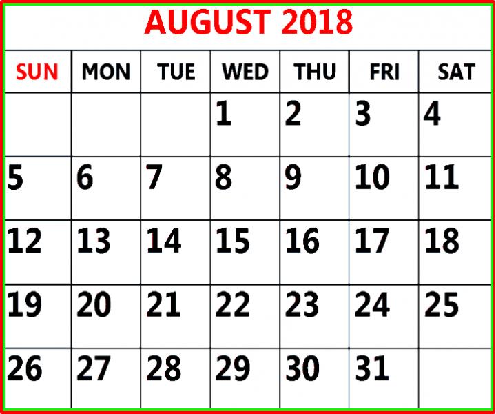 Best August Calendar 2018 Template