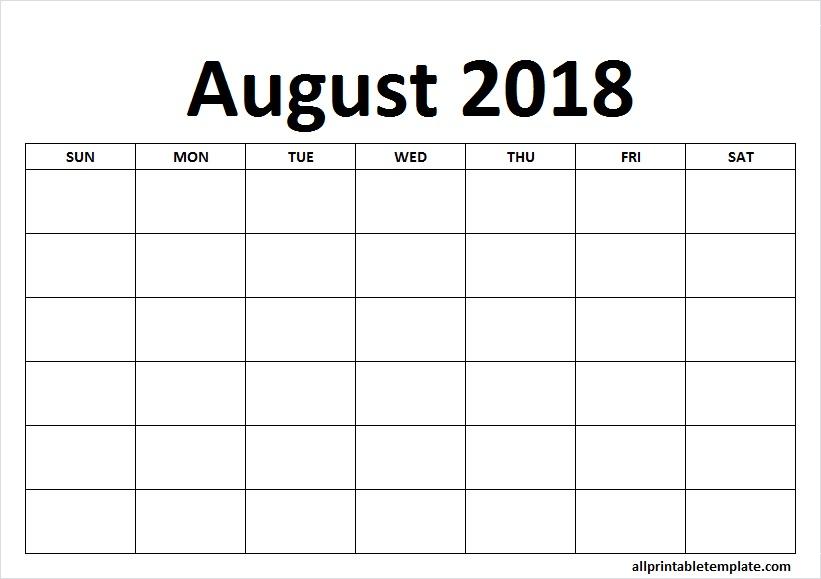 Blank August 2018 Calendar Landscape