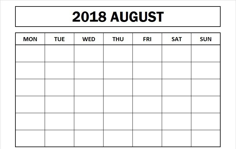 Blank August 2018 Calendar Template
