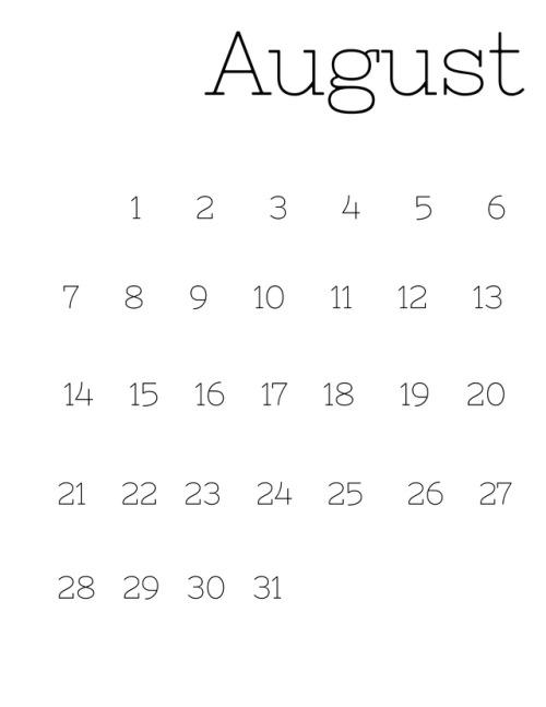 Blank August 2018 Calendar Tumblr