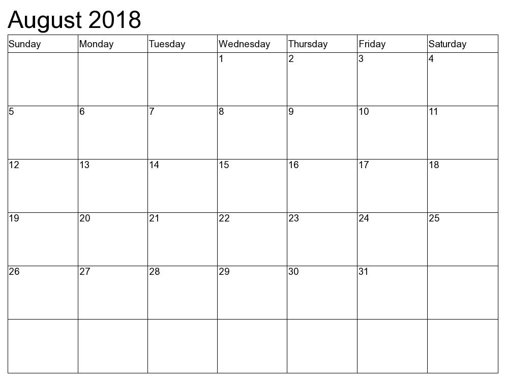Blank August 2018 Calendar