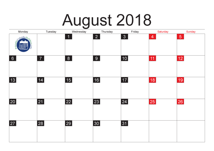 Blank Calendar Pages August 2018