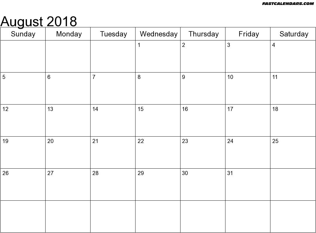 Blank Printable August 2018 Calendar Blank Fontsize 14 Arial Color