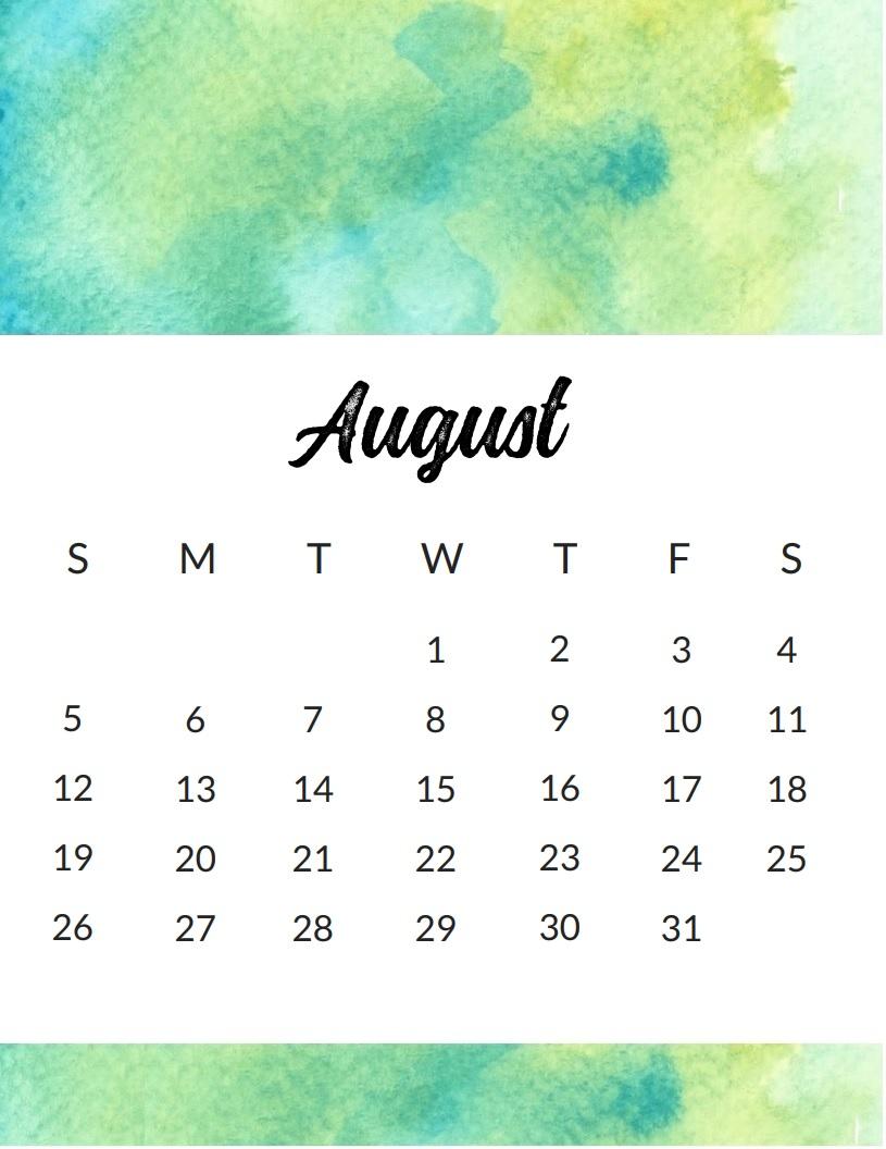 Calendar August 2018 Cute