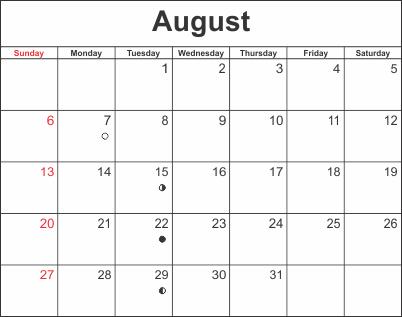 Calendar August 2018 Excel