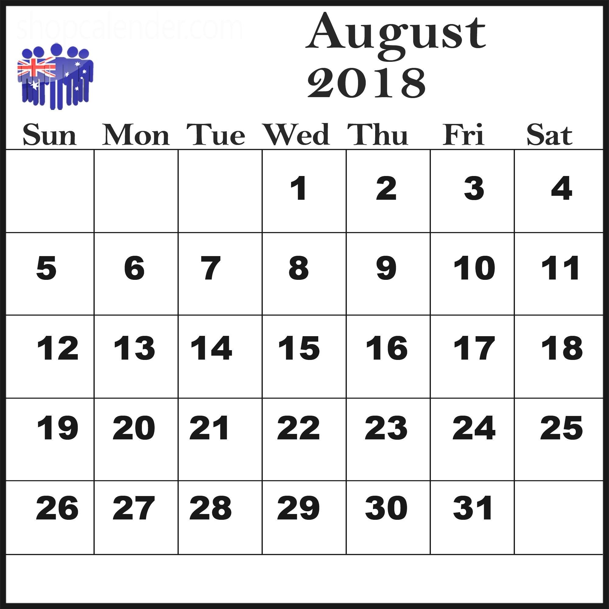 Calendar August 2018 For Australia