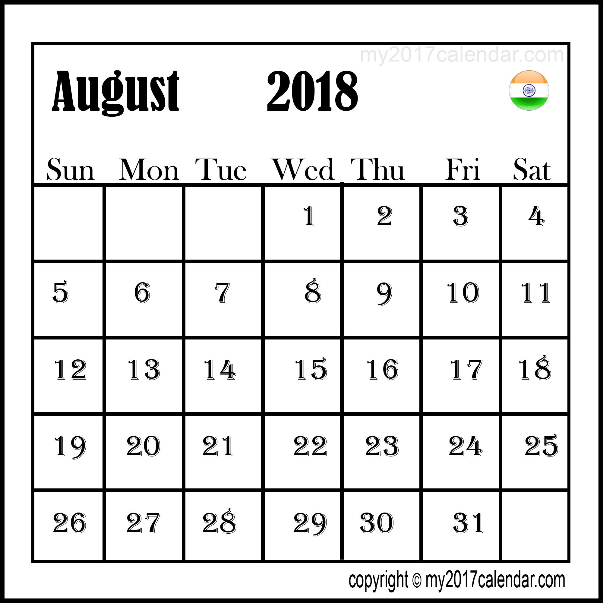 Calendar August 2018 India