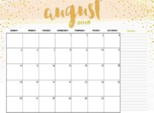 Calendar August 2018 Page