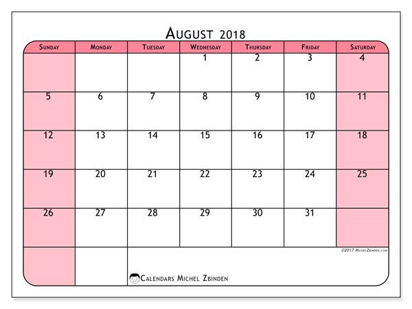 Calendar August 2018 Pink