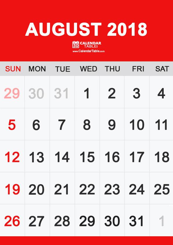 Calendar August 2018 Portrait