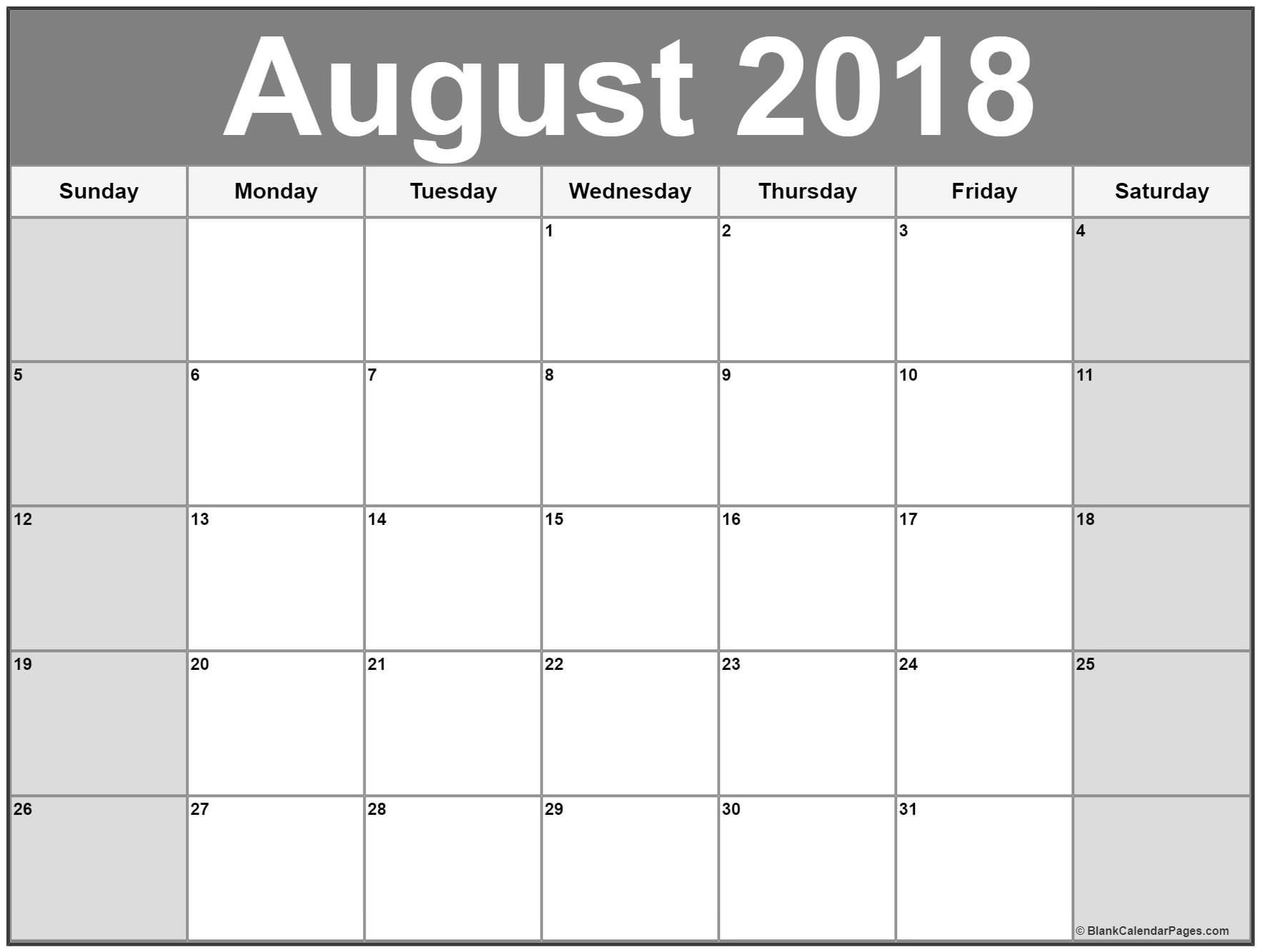 Calendar August 2018 Printable