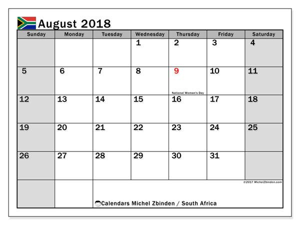 Calendar August 2018 South Africa