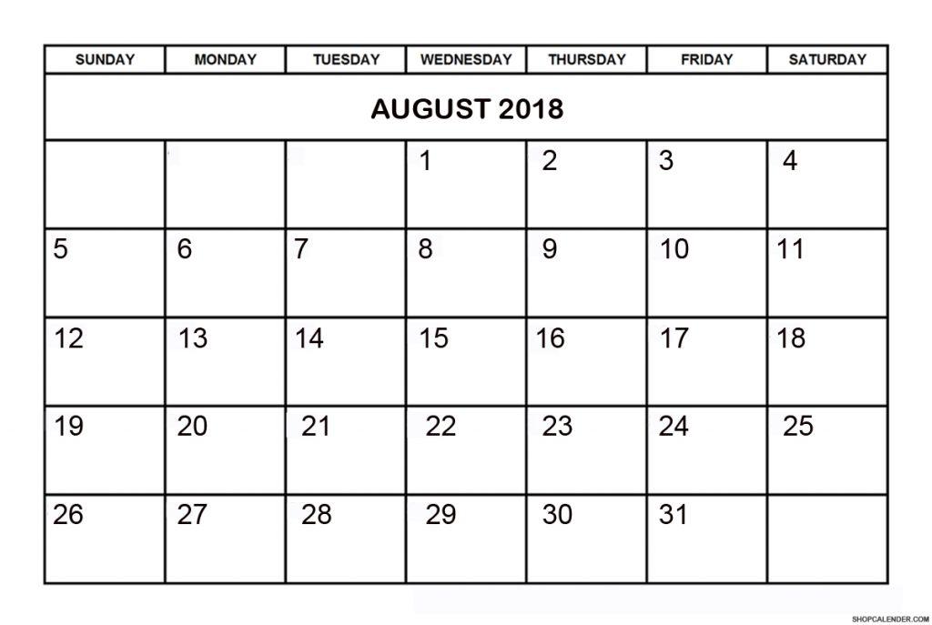 Calendar for August 2018 PDF