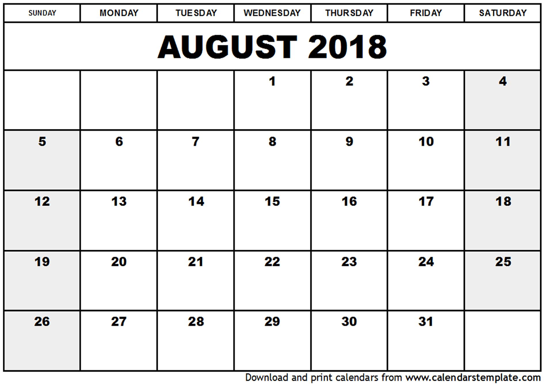 Calendar for August 2018 Printable