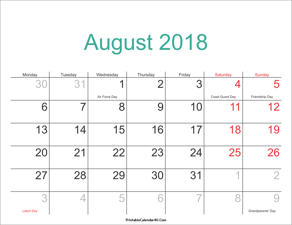 Calendar for August 2018 With Holidays