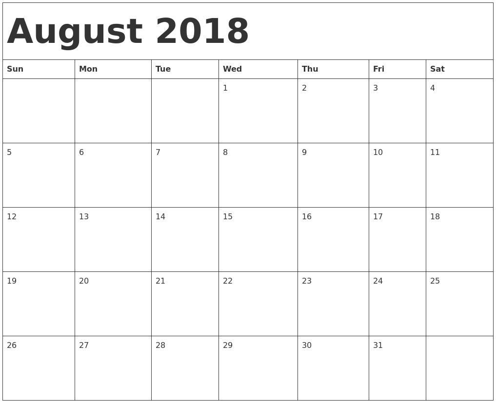 Calendar for August 2018 Word