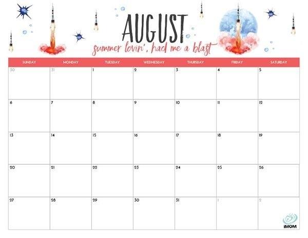 Cute August 2018 Calendar Pink