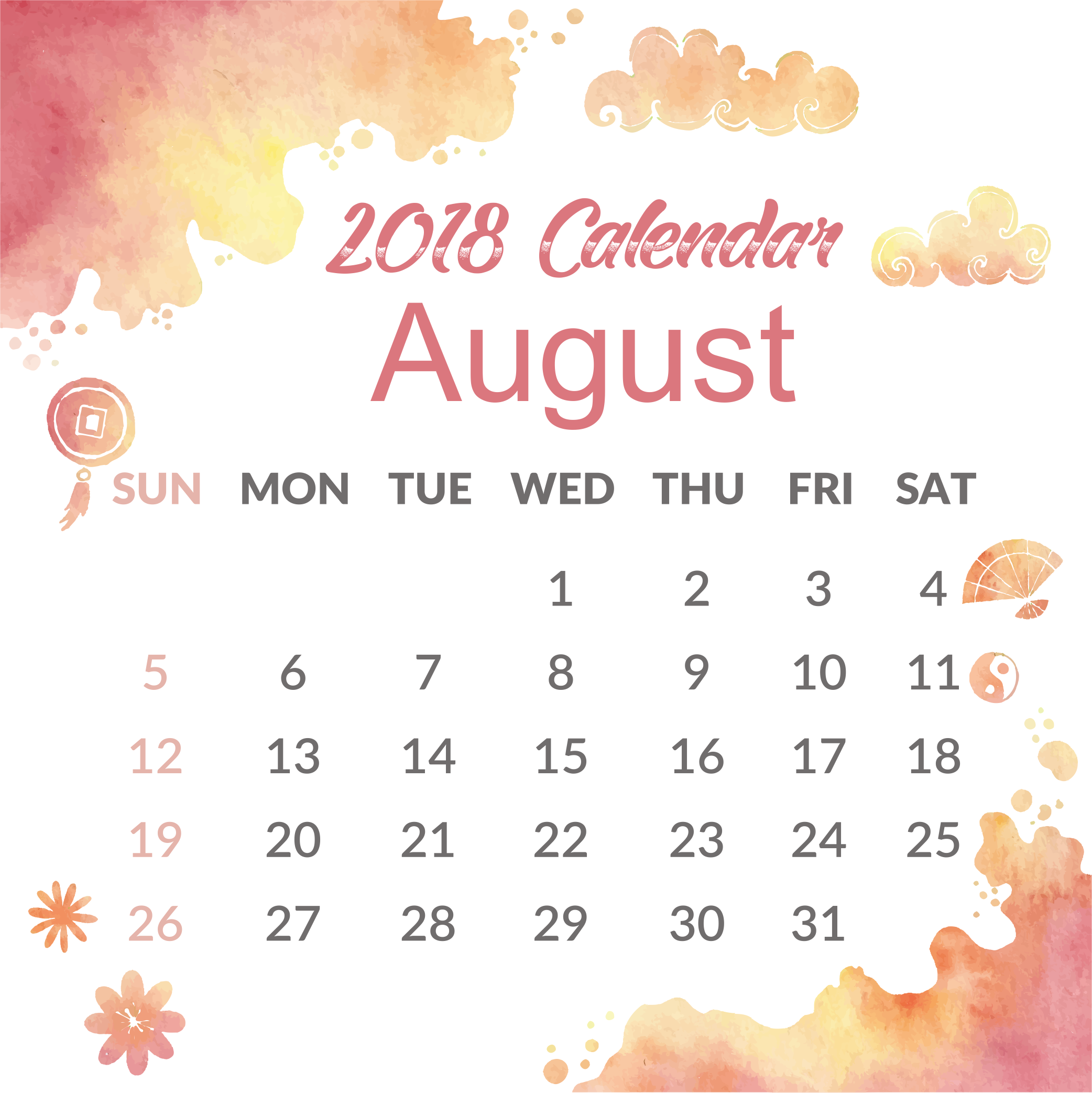 Cute August 2018 Calendar Portrait