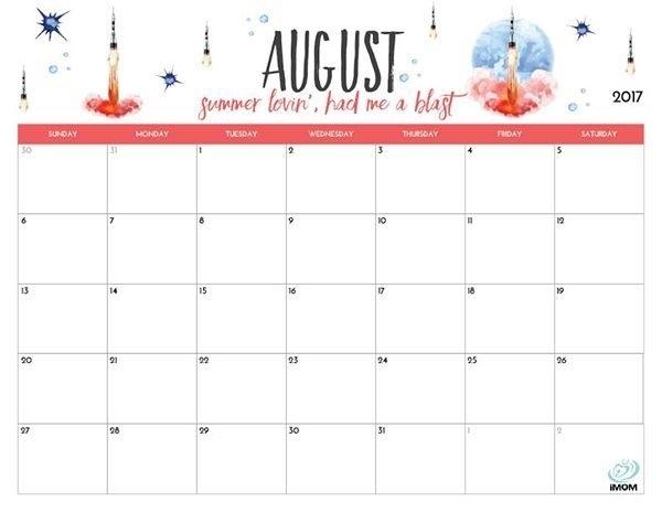 Cute August 2018 Calendar Printable