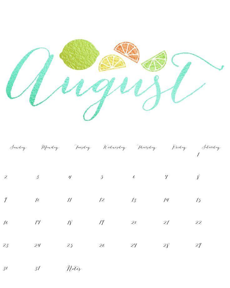Cute August 2018 Calendar Tumblr