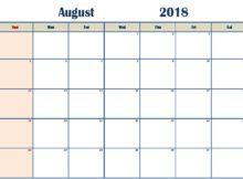 Editable August 2018 Calendar Blank