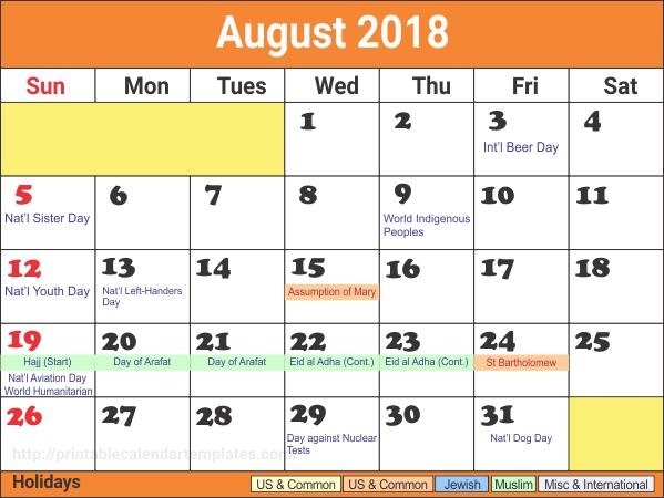 Editable August 2018 Calendar Template