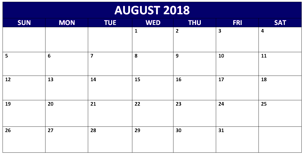 Fillable August 2018 Calendar Page
