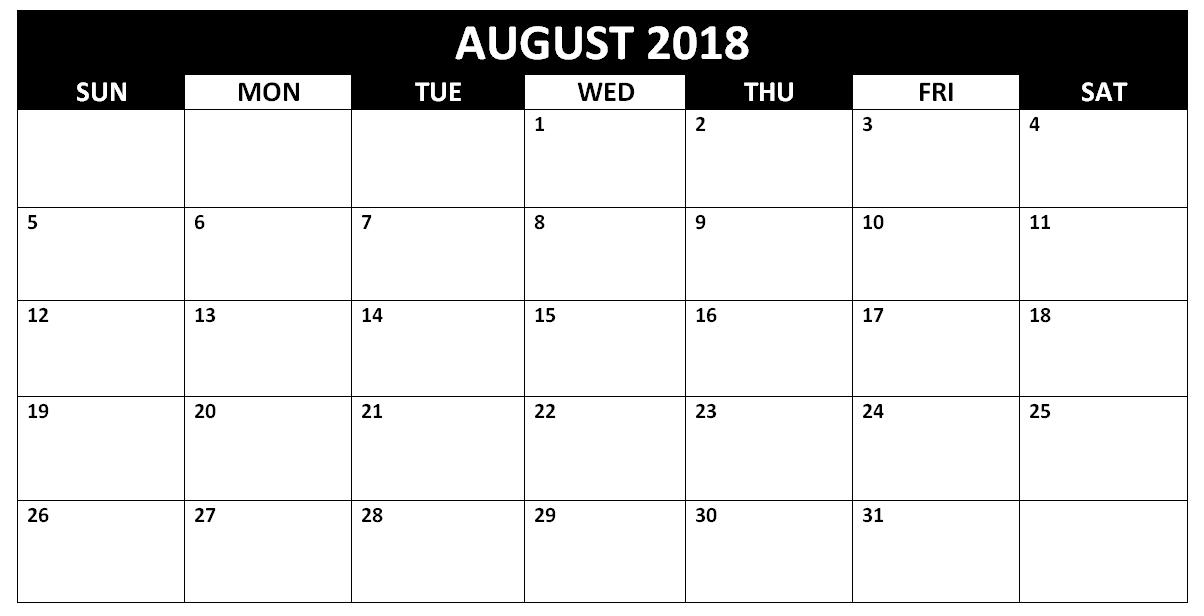 Free August 2018 Blank Calendar Template