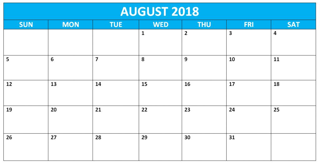Free Printable August 2018 Calendar Australia