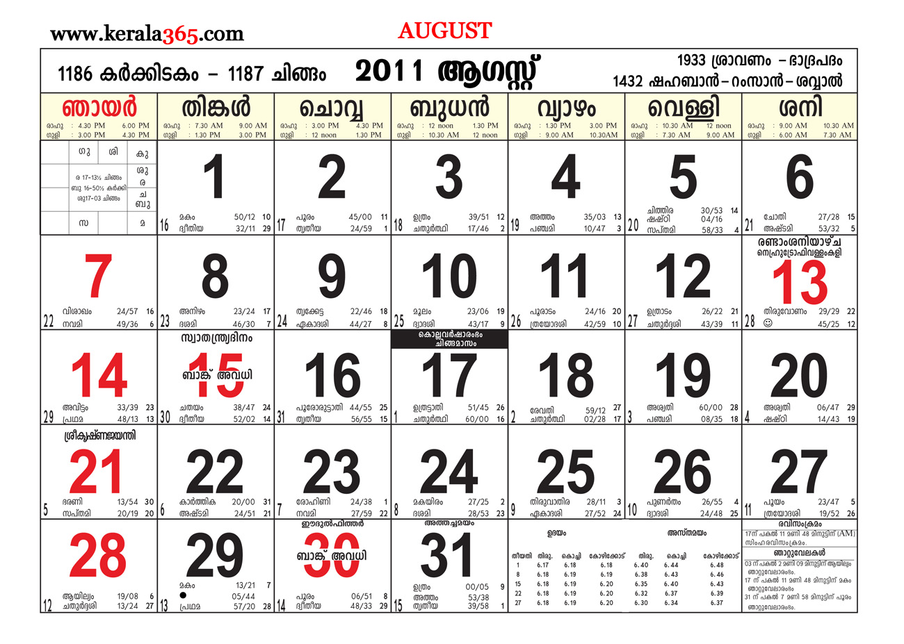 Malayalam Calender August 2018