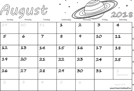 Monthly August 2018 Calendar Document