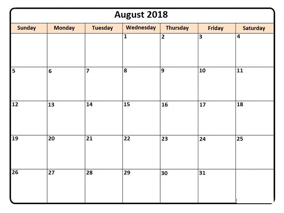 Monthly August 2018 Calendar Landscape
