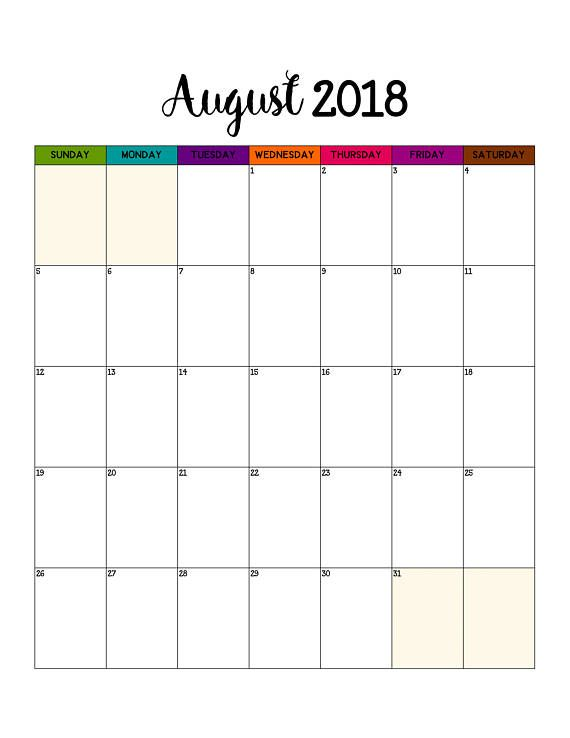 Monthly August 2018 Calendar Portrait