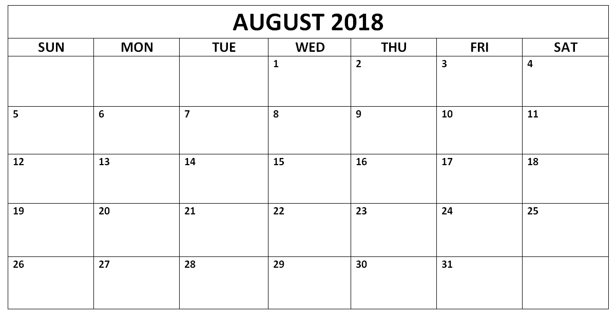 Monthly Blank August 2018 Calendar Landscape