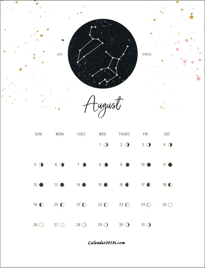Moon Phases August 2018 Calendar