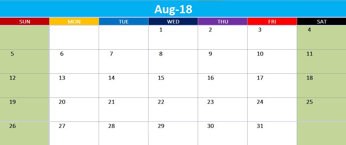 Online August 2018 Calendar France