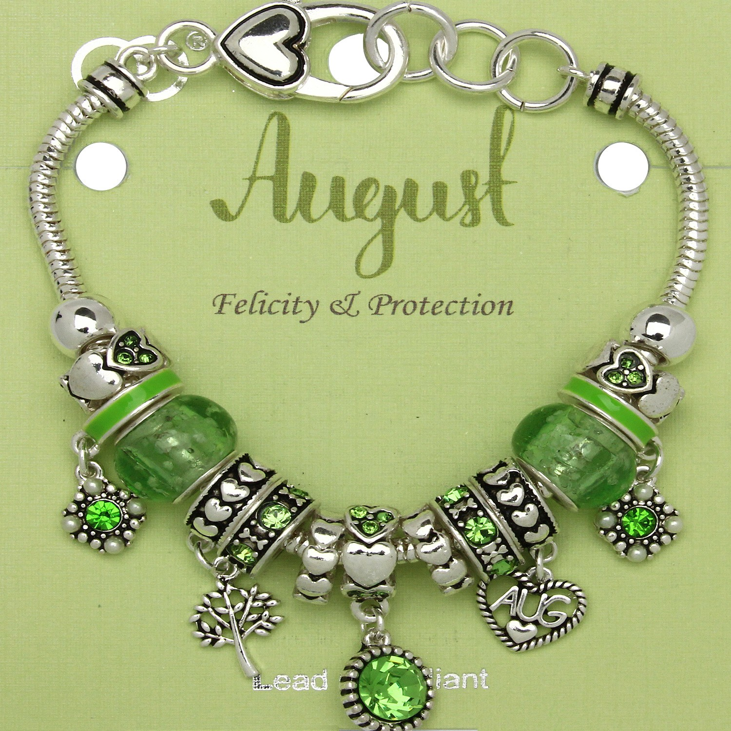 Peridot August Birthstone Charm Bracelet Murano Beads Pandora Style Inspired Felicity Protection