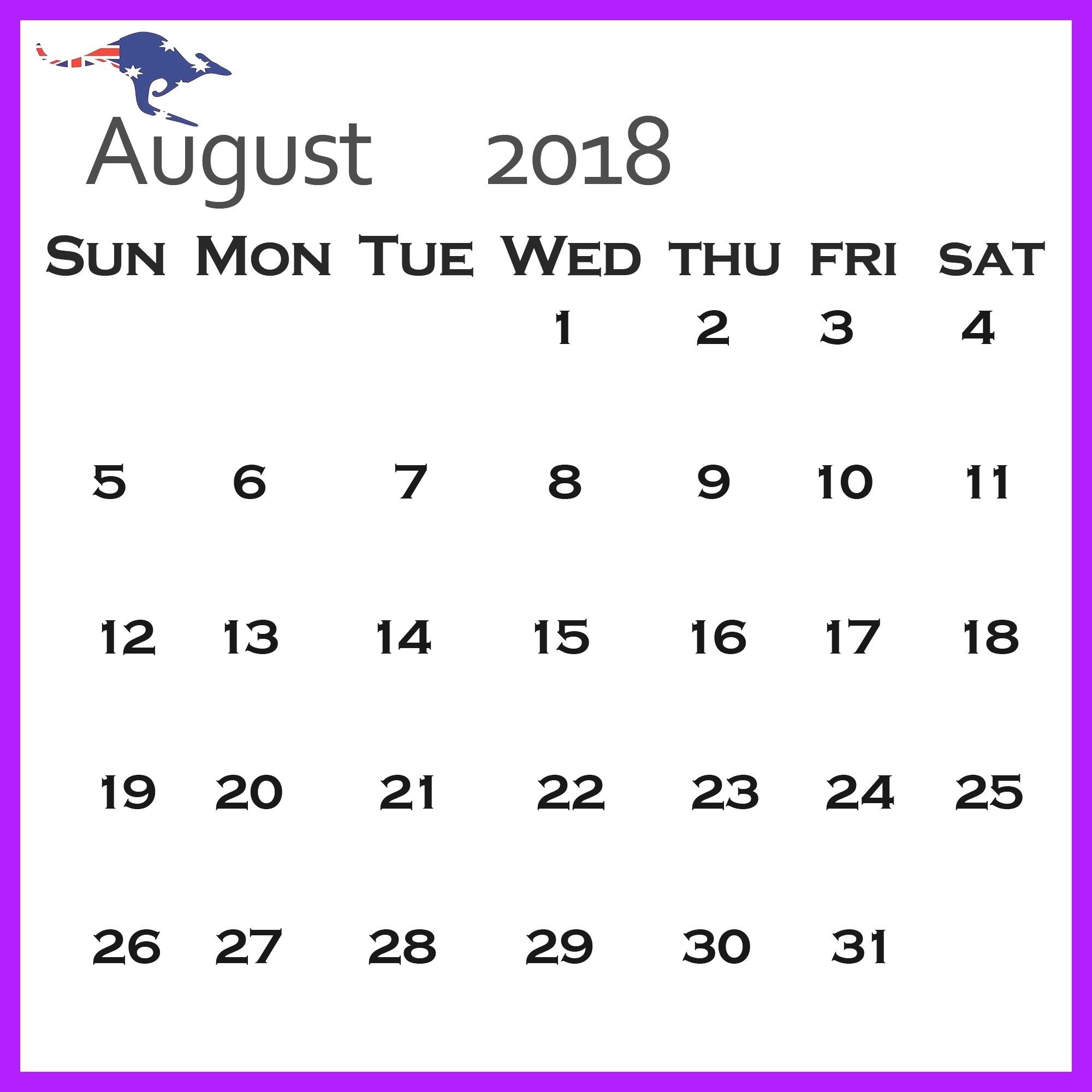 Print August 2018 Calendar Australia