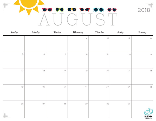 Printable August 2018 Calendar Portrait