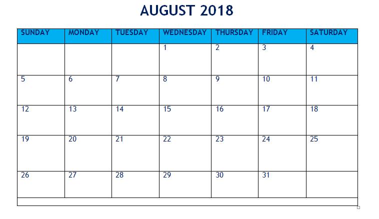 Printable August 2018 Calendar Word