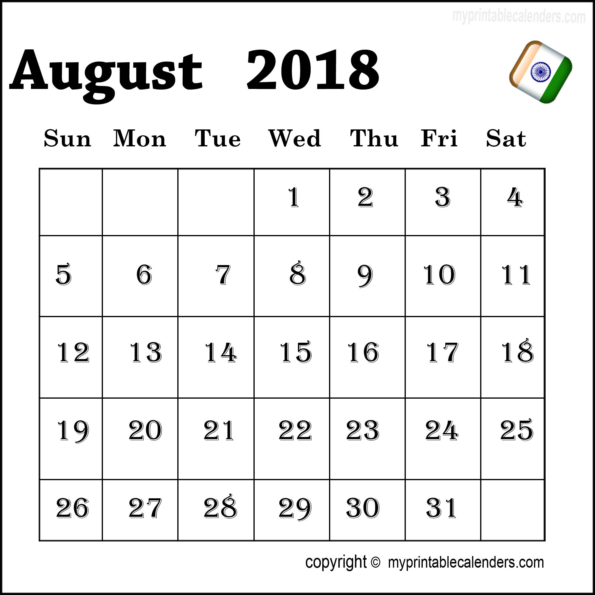 Printable August 2018 India Calendar