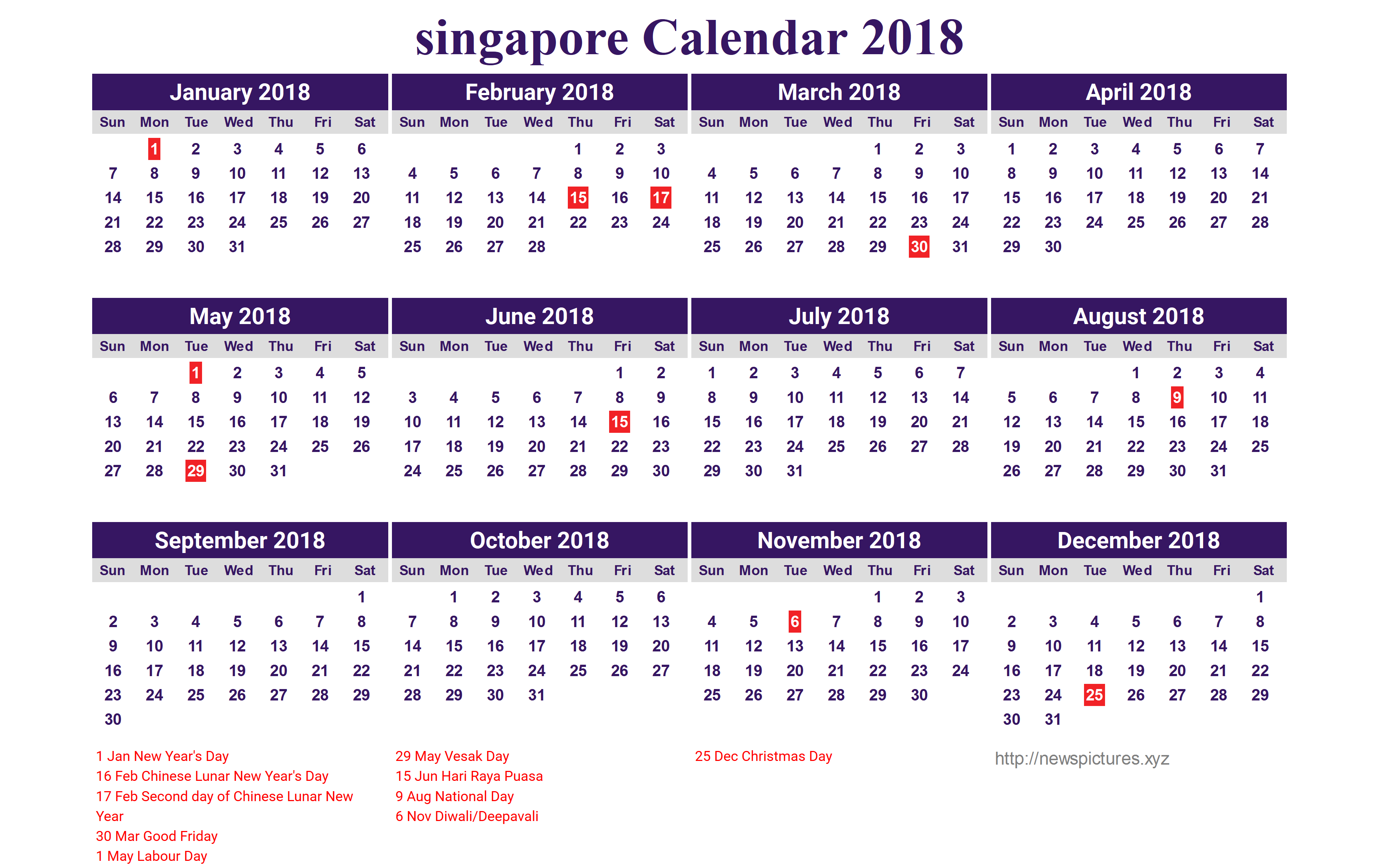 Singapore Calendar 2018 with Holidays
